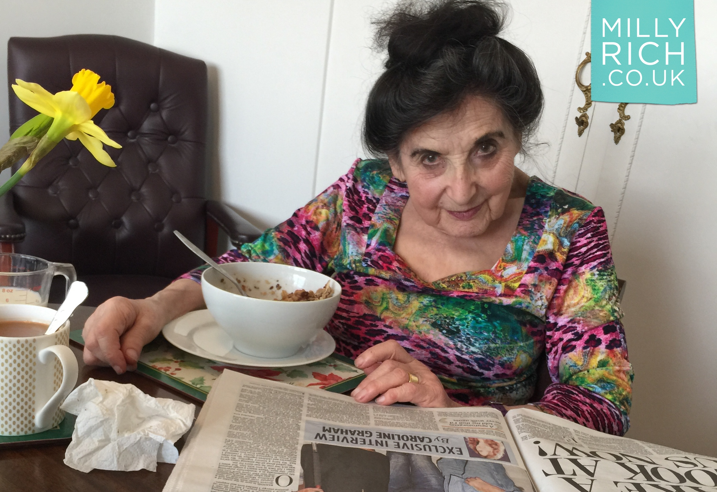Milly Rich aged 99 reading her morning newspaper July 2017