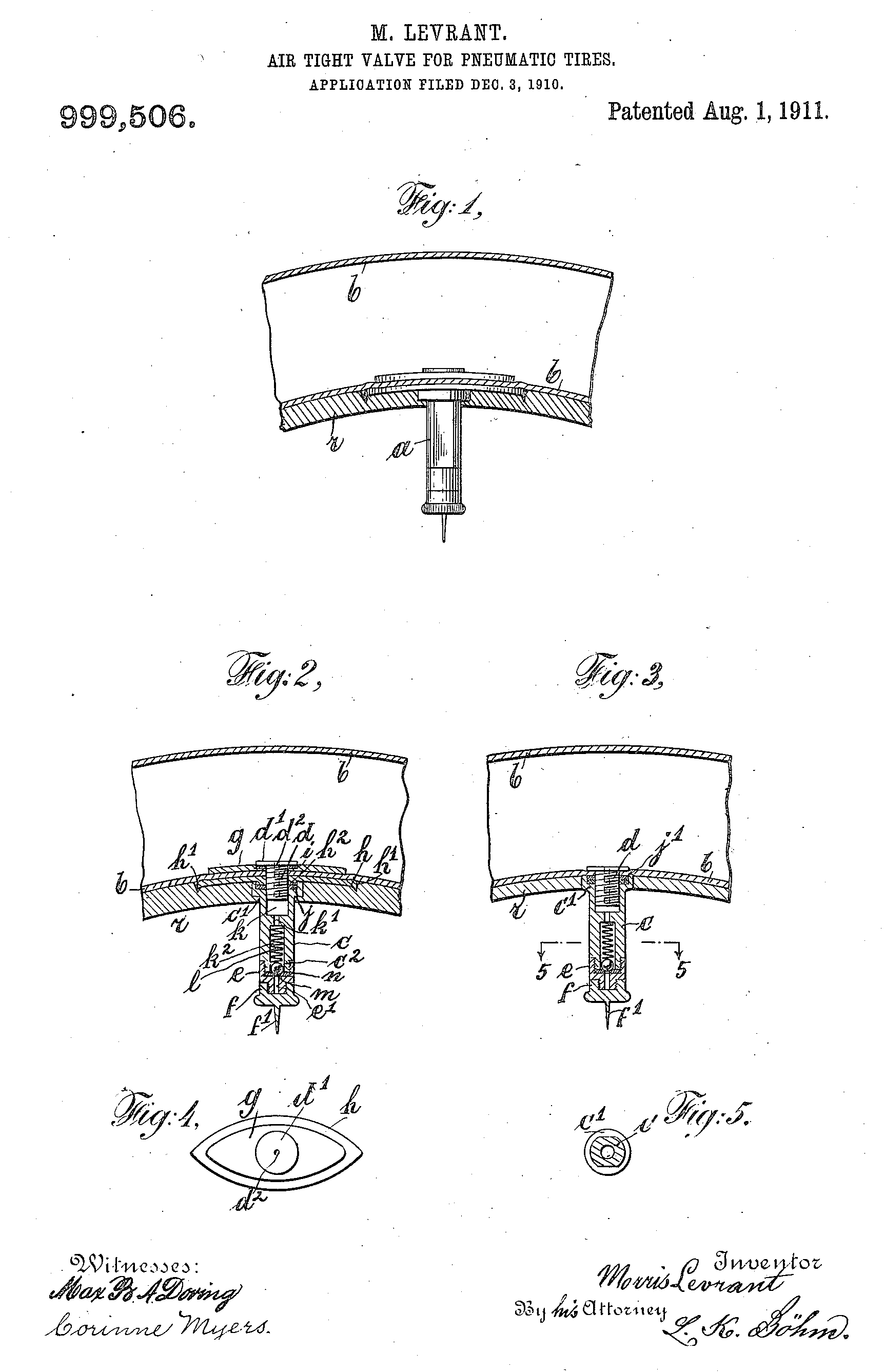 Morris Levrant Air-tight valve for pneumatic tires 1911, Patent US999506